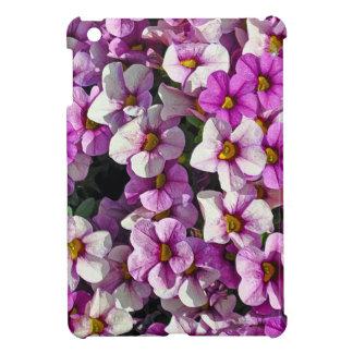 Pretty pink and purple petunias floral print iPad mini cases