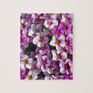 Pretty pink and purple petunias floral print jigsaw puzzle