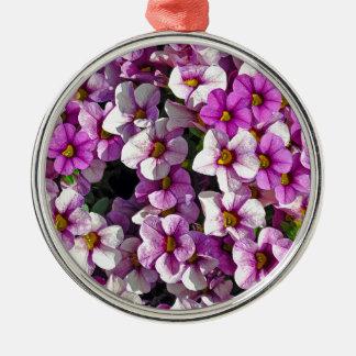 Pretty pink and purple petunias floral print metal ornament