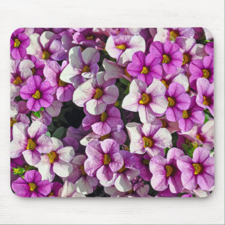 Pretty pink and purple petunias floral print mouse pad
