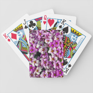 Pretty pink and purple petunias floral print poker deck