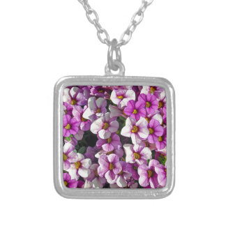 Pretty pink and purple petunias floral print silver plated necklace