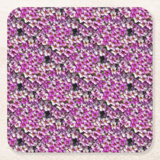 Pretty pink and purple petunias floral print square paper coaster