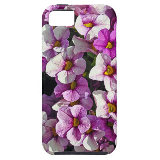 Pretty pink and purple petunias floral print tough iPhone 5 case
