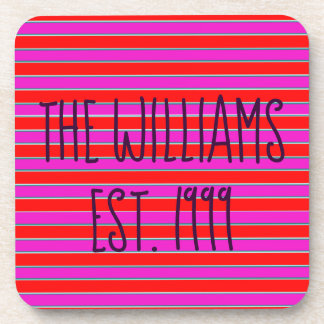 Pretty Pink and Red Stripes Coaster