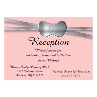 Pretty Pink and Silver Wedding Love Hearts Pack Of Chubby Business Cards