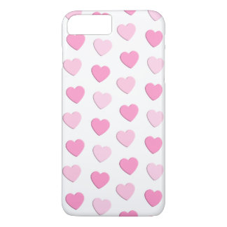 Pretty Pink and White Hearts Wedding iPhone 7 Plus Case