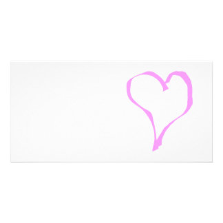 Pretty Pink and White Love Heart. Personalised Photo Card