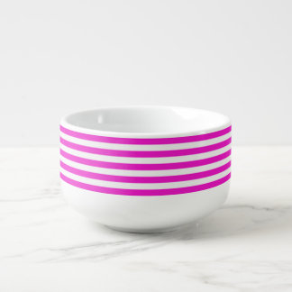 Pretty Pink and White Stripe Soup Mug
