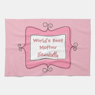 Pretty Pink and White Worlds Best Mother Tea Towel