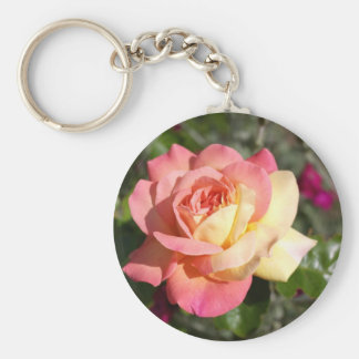 Pretty  pink and yellow rose flower.  Floral Key Ring