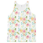 Pretty Pink and Yellow Watercolor Floral All-Over Print Singlet
