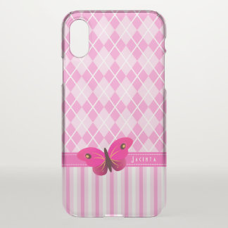 Pretty Pink Argyle and Stripes Butterfly Girly iPhone X Case