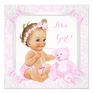 Pretty Pink Baby Shower Girl Lace Bear Blonde Baby 13 Cm X 13 Cm Square Invitation Card