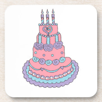 Pretty Pink Birthday Cake Beverage Coaster