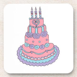 Pretty Pink Birthday Cake Drink Coasters
