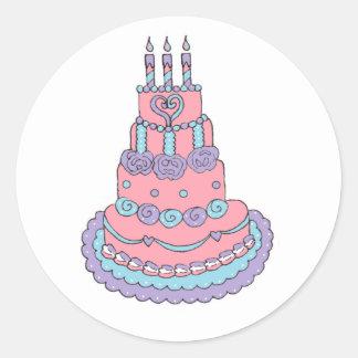Pretty Pink Birthday Cake Round Sticker