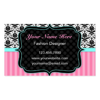 Pretty Pink, Black and White Damask Business Card