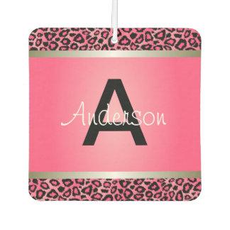 Pretty Pink & Black Leopard Animal | Monogram Car Air Freshener