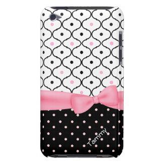Pretty Pink, Black, & White Polka Dot Girly iPod Case-Mate Cases
