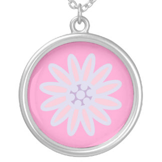 Pretty Pink & Blue Cartoon Flower Customizable Personalized Necklace