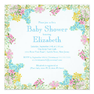 Pretty Pink Blue Floral Neutral baby Shower Custom Invites