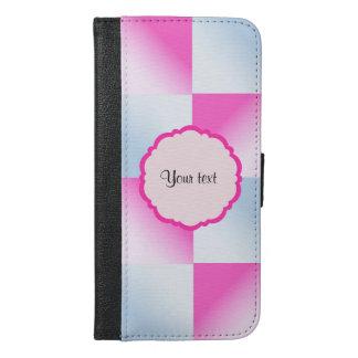 Pretty Pink & Blue Gradient Squares iPhone 6/6s Plus Wallet Case