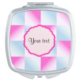 Pretty Pink & Blue Gradient Squares Makeup Mirrors