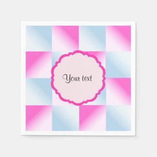 Pretty Pink & Blue Gradient Squares Paper Napkins