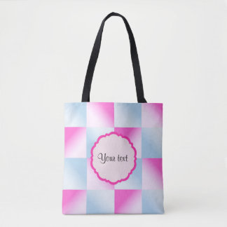 Pretty Pink & Blue Gradient Squares Tote Bag