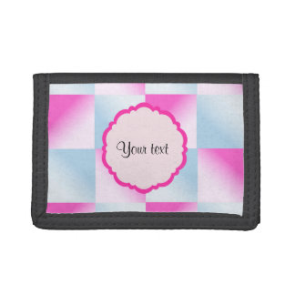 Pretty Pink & Blue Gradient Squares Trifold Wallets