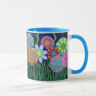 Pretty Pink, Blue, Green, Orange and Purple Flower Mug