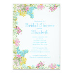 Pretty Pink Blue Watercolor Flowers Bridal Shower Custom Announcements