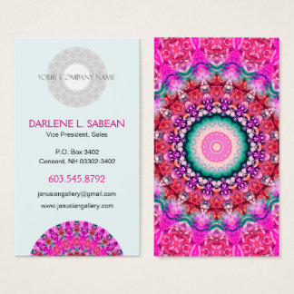 Pretty Pink Boho Mandala Kaleidoscope Business Card
