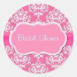 Pretty Pink Bridal Shower Envelope Seal Round Sticker