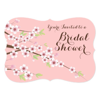 Pretty Pink/Brown Cherry Blossom Bridal Shower Card