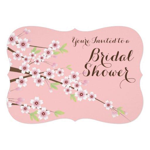 Pretty Pink/Brown Cherry Blossom Bridal Shower Custom Invite
