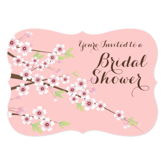 Pretty Pink/Brown Cherry Blossom Bridal Shower 5x7 Paper Invitation Card