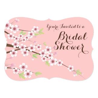 Pretty Pink/Brown Cherry Blossom Bridal Shower 13 Cm X 18 Cm Invitation Card