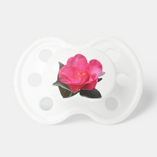 pretty pink camellia flower baby pacifier