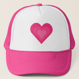Pretty pink cartoon hearts baseball cap