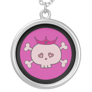Pretty Pink Cartoon Skull Princess Round Pendant Necklace