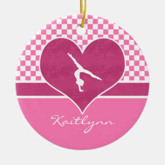Pretty Pink Checkered Gymnastics with Monogram Ceramic Ornament
