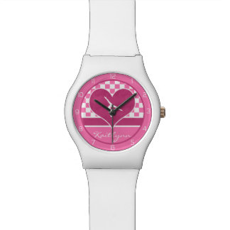 Pretty Pink Checkered Gymnastics with Monogram Wrist Watches