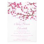 Pretty Pink Cherry Blossom Floral Baby Shower Custom Invites