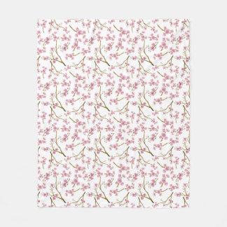 Pretty Pink Cherry Blossom Watercolor Pattern Fleece Blanket