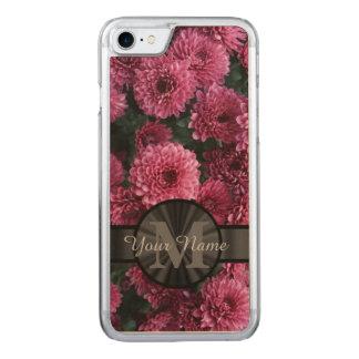 Pretty pink Chrysanthemum  flower monogram Carved iPhone 7 Case