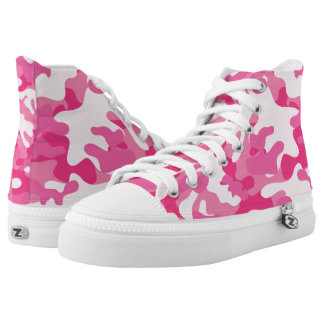 Pretty Pink Colors Camouflage Pattern High Tops