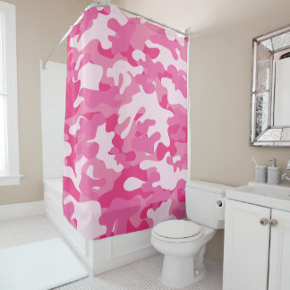 Pretty Pink Colors Camouflage Pattern Shower Curtain