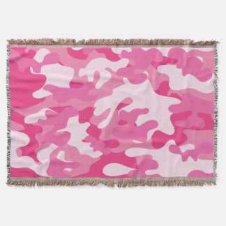 Pretty Pink Colors Camouflage Pattern Throw Blanket